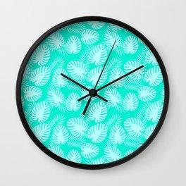 Tropical Aqua Print Wall Clock