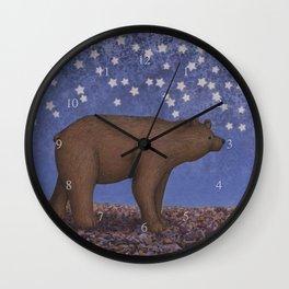 brown bear on a starlit stroll Wall Clock