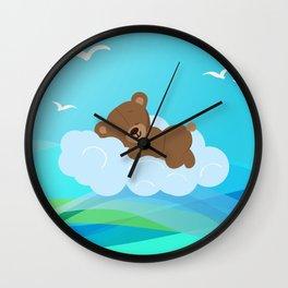 Teddy Bear & clouds , Nursery Wall Clock