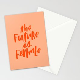 The Future is Female Pink and Orange Stationery Cards