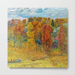 Classical Masterpiece 'Autumn in New England' by Frederick Childe Hassam Metal Print