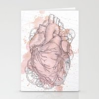 anatomical heart Stationery Cards featuring Anatomical Heart by Sumi Senthi