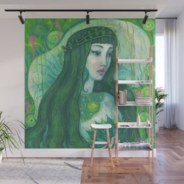 Green Mermaid Wall Mural