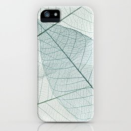 Teal Skeleton Leaves, modern minimalist leaf photography iPhone Case