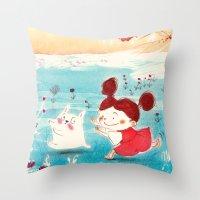 studio ghibli Throw Pillows featuring Fan-art Studio Ghibli  by Maureen Poignonec