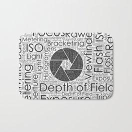Photography Terms  Word Cloud Lens Shutter Bath Mat