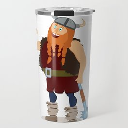 Red-bearded fat viking with a mace Travel Mug