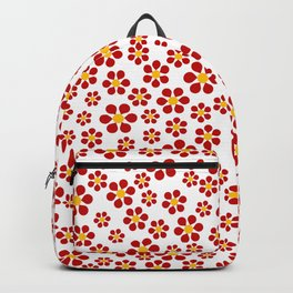 Dizzy Daisies - red on white Backpack