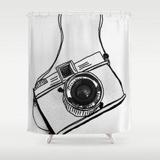 White Moodie Lomo Shower Curtain