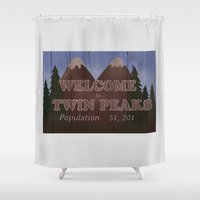 twin peaks Shower Curtains featuring twin peaks by Britt Whitaker Design