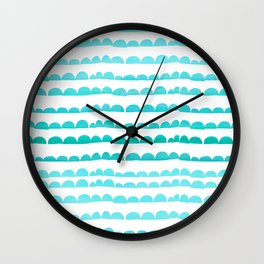 Handdrawn fun stripes pattern in turquoise on white background #Society6 Wall Clock