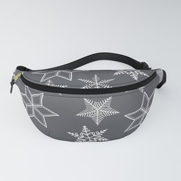 Simple Snowflakes On Grey Background Fanny Pack