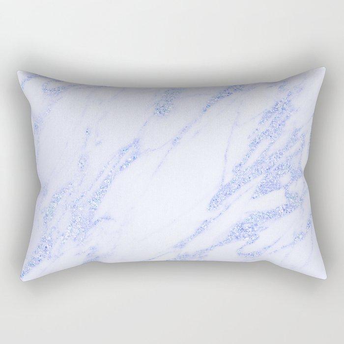 Blue Marble - Shimmery Glittery Cornflower Sky Blue Marble Metallic Rectangular Pillow