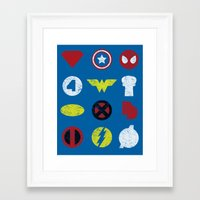 super heroes Framed Art Prints featuring Super Simple Heroes by Resistance