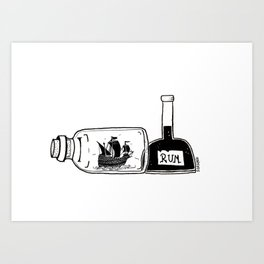 Ship in a Bottle - Hunting Rum Art Print