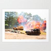 Tank battle Art Print