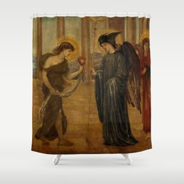 """Edward Burne-Jones """"Cupid and Psyche - Palace Green Murals - Psyche entering the Portals of Olympus"""" Shower Curtain"""