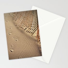 Footprints on the Beach by the Sand Fence Stationery Cards