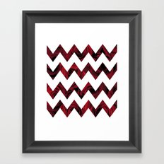 Rose Chevron on White Framed Art Print