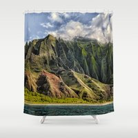 spires Shower Curtains featuring Na' Pali Spires, Kauai, Hawaii  by Elliott's Location Photography