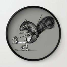 Ride On Squirrel_grey Wall Clock