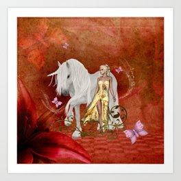 wonderful unicorn with fairy Art Print