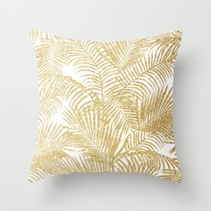 Elegant faux gold glitter tropical plants pattern  Throw Pillow