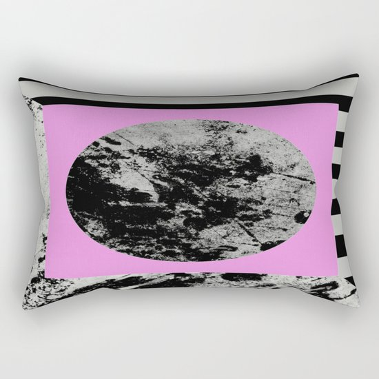 Stripes In Space - Geometric Abstract In Block Pink, Black And White And Black And Grey Stripes Rectangular Pillow