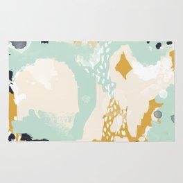 Tinsley - abstract painting minimalist decor nursery dorm college art gold navy Rug