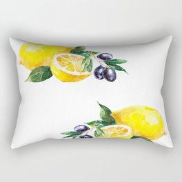 Lemons and Olives Mediterranean Foods Rectangular Pillow
