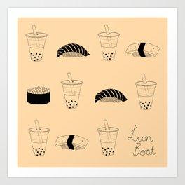 Bubble tea and sushi Art Print