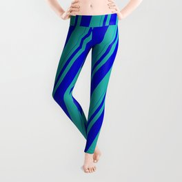 Blue and Light Sea Green Colored Striped Pattern Leggings