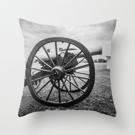 Monocacy National Battlefield Civil War Cannon Black and White Photography National Park Maryland Throw Pillow