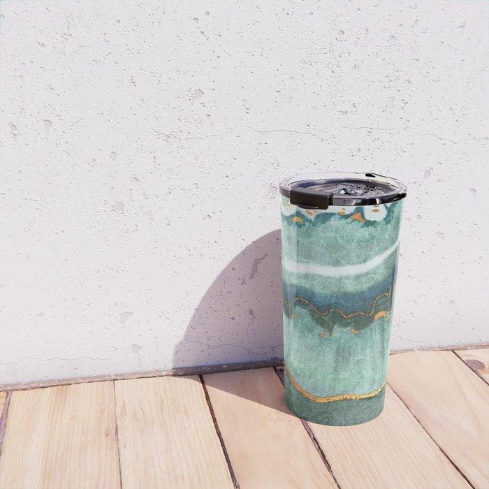Gold Turquoise Agate Travel Mug