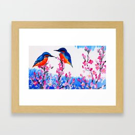 Kingfishers and Cherry Blossom Framed Art Print