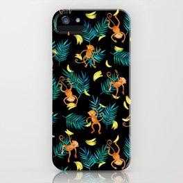 Tropical Monkey Banana Bonanza on Black iPhone Case
