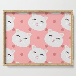 Cats pattern background Serving Tray