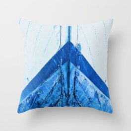 Blue Boat Hull Wooden Boats Fishing Fisherman Seafood Painted Wood Vintage Weathered Nautical Beach Throw Pillow