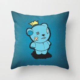 Blue Dead Bear Throw Pillow