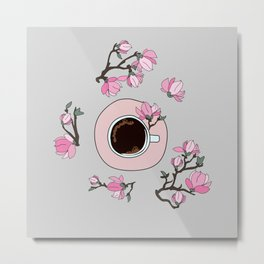 Coffee and magnolia Flowers Metal Print