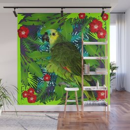 RED HIBISCUS & GREEN PARROT JUNGLE GRAY-GREEN ART Wall Mural