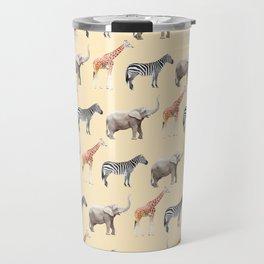 Animals, Elephant, Giraffe, Zebra, Zoo, Kids, Nursery, Minimal, Pattern, Modern art Travel Mug