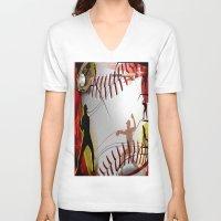 baseball V-neck T-shirts featuring Baseball by Robin Curtiss