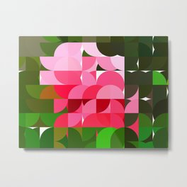 Pink Roses in Anzures 4 Abstract Circles 1 Metal Print