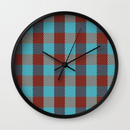 Pixel Plaid - Cranberry Bog Wall Clock