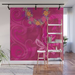 Hawaiian Lei Please Pink Tribal Wall Mural