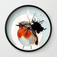 robin Wall Clocks featuring Robin by Stroke a Bird