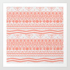 Whimsical Neon Coral Pink Abstract Aztec Pattern Art Print