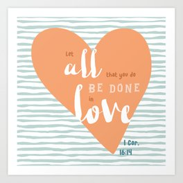 """All in Love"" Hand-Lettered Bible Verse Art Print"