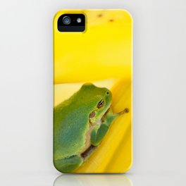 Green Frog on Yellow Lilies iPhone Case